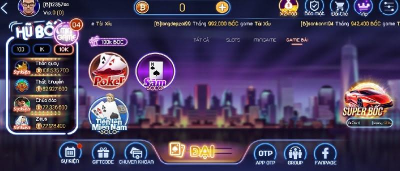 Bốc Club cung cấp rất nhiều các thể loại game bài