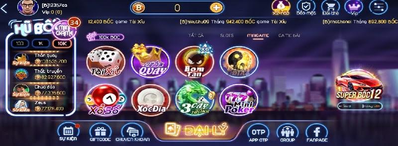 Các minigame đặc sắc tại cổng game bài đổi thưởng Bốc Club